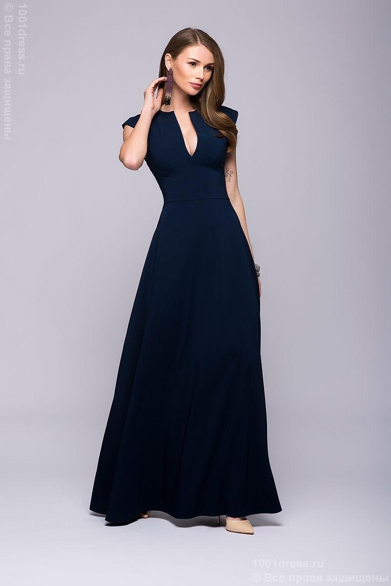 573096f58abb ... Picture of Maxi length dress DM00697DB with deep neckline  dark-blue  Colour ...