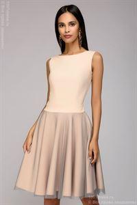 Bild von Mini-Länge Kleid DM00943PW mit Bögen auf der Rückseite; Farbe: Puder