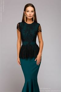 Picture of Maxime dress DM00901GR with lace top; color: green / black
