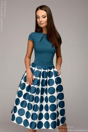 Obrázek z Oděv DM00930TR z midi délky s krátkým rukávem a potisk na sukni; barva: tmavě tyrkysová