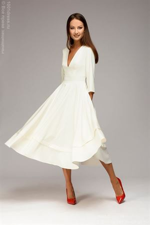 Obrázek z Midi délka oblečení DM00923WH s hlubokým řezem; barva: bílá
