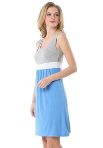 Изображение Платье «Триколор» голубое/меланж для беременных и кормящих