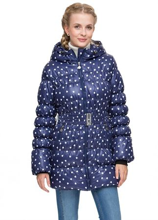 """Picture of Winter jacket """"Malta"""" color: blue / hearts"""