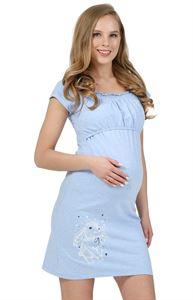 """Bild von """"Diana""""  Umstandsnachthemd/Stillnachthemd ; Farbe: blaue Melange"""