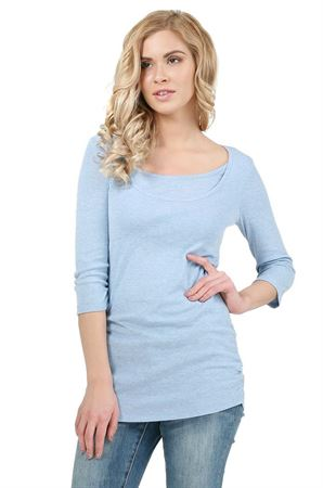 """Picture of """"Elmira""""  Maternity And Nursing Long Sleeve T-Shirt: color: denim"""