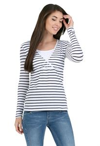 "Picture of long sleeve ""mindy"" for nursing; color: white stripe"