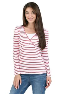"""Picture of long sleeve """"mindy"""" for nursing; color: red strip"""