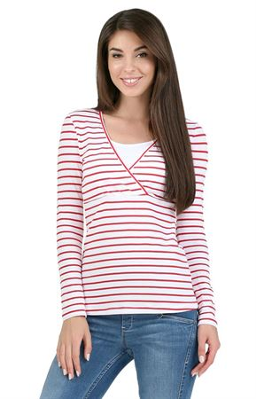 "Picture of long sleeve ""mindy"" for nursing; color: red strip"