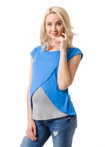 Picture of Helga Maternity and nursing T-shirt; color: denim/Heather grey