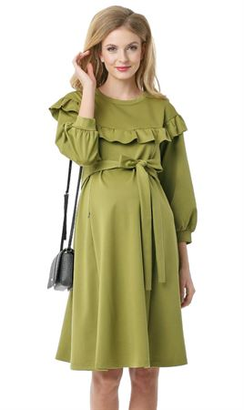 "Picture of ""Gall"" Maternity and nursing dress; color:  light green"