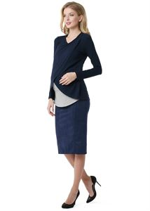 """Picture of Skirt """"Dermis"""" for pregnant eco-suede  2 in 1 ; dark-blue colour"""