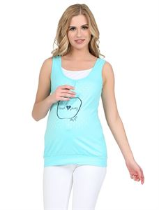 Picture of Greta Maternity And Nursing Tank Top; color: Aqua