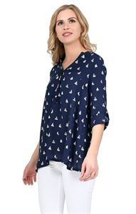 "Picture of Blouse ""Devika"" dark blue maternity and nursing"