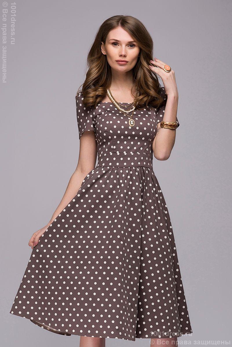 f276fe3e9933976 Изображение Платье DM00357BG бежевое в горошек в ретро-стиле длины миди
