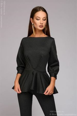 Picture of Suit DM00672GY08 from trousers and top with a multi-level Basque; color: dark gray with fine print