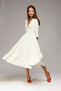 Picture of Midi length dress DM00923WH with deep cut; White color