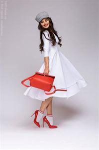 Bild von Midi-Länge Kleid DM00923WH mit tiefem Schnitt; Farbe weiss