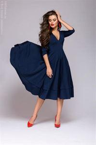 Изображение Платье DM00923DB длины миди с глубоким вырезом ; цвет: темно-синий