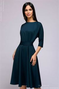 Picture of Midi length dress DM01046EM with protectors at the waist; color: emerald