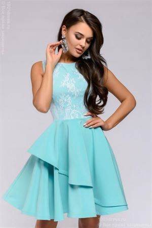 Picture of Dress DM00662TY length mini with lace top; color: tiffany