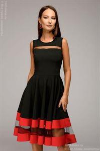 Bild von Kleid DM00843BK Schwarzes ärmelloses Kleid mit roter Verzierung