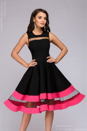 Picture of Dress DM00843FA black sleeveless with fuchsia finish
