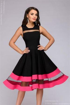 Изображение Платье DM00843FA черное без рукавов с отделкой цвета фуксии
