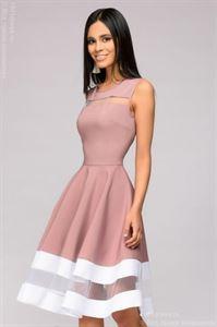 Bild von Kleid DM00843SP ashy rose ärmelloses weißes Trim