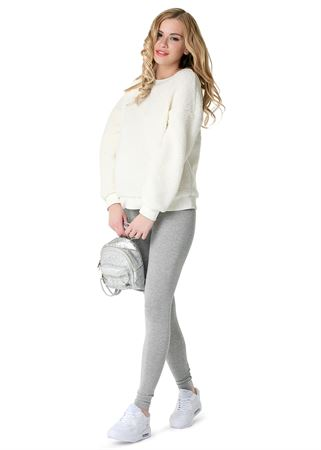 """Picture of Maternity Leggings """"LD01"""" ; color: gray mélange"""