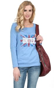 "Picture of T-shirt long sleeve ""Gabija"" Maternity and nursing ; color: denim blend"