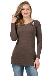 "Picture of ""Bertha""  Maternity Long Sleeve T-Shirt: color: coffee"
