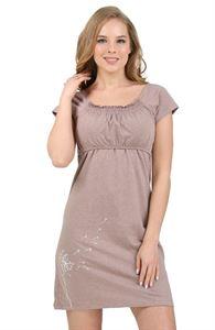 """Изображение Ночная сорочка """"Диана"""" для беременных и кормящих кофейный"""