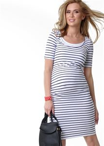 """Picture of """"Atlanta"""" Maternity and nursing dress ; color: white / blue"""
