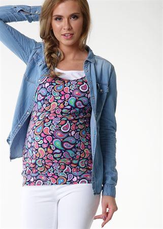 """Изображение Майка """"Гретта"""" для беременных и кормящих; цвет: синий/пейсли"""