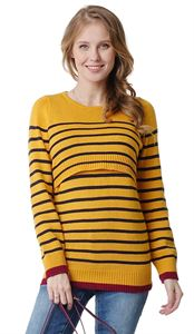 "Picture of Jumper ""Lassie"" maternity and nursing; color: mustard / blue"