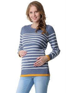 "Picture of Jumper ""Lassie"" maternity and nursing; color: denim / white"