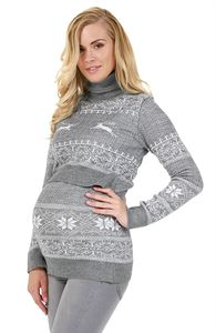 """Obrázek Svetr """"Ligia"""" pro těhotné a kojící ženy; barva: šedá mélange"""