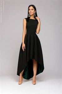 Picture of The dress DM00948GR black is a multi-level with a green skirt trim