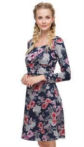"Picture of ""Alberta"" Maternity and nursing dress with blue roses print"