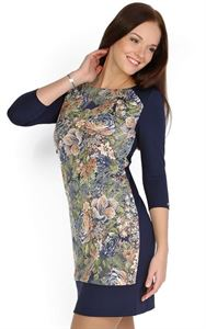 """Picture of """"Camilla"""" Maternity  dress with blue and beige flowers"""