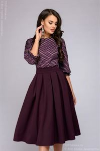 Picture of Dress DM00234BO burgundy midi with bat sleeves and a printed top