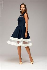 Picture of DM00843DB dress dark blue sleeveless with white trim