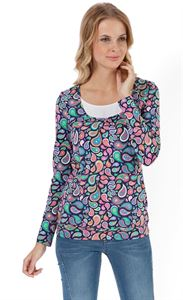 "Picture of Maternity And Nursing Long Sleeve T-Shirt ""Gabija""  In dark blue with Paisley"
