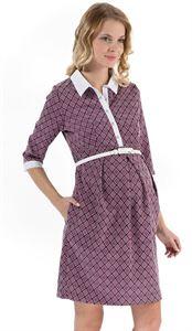 """Изображение Платье """"Полина"""" фиолетовое с ромбами для беременных и кормящих"""