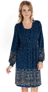 "Picture of ""Chateau"" Maternity blue dress with gray pattern"