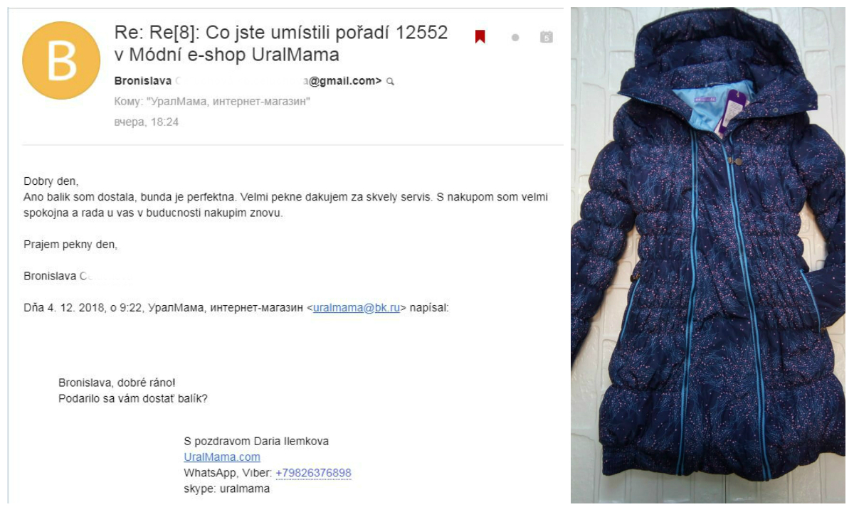 "Bronislava (Slovakia, Словакия): ""Ano balik som dostala, bunda je perfektna. Velmi pekne dakujem za skvely servis. S nakupom som velmi spokojna a rada u vas v buducnosti nakupim znovu."""