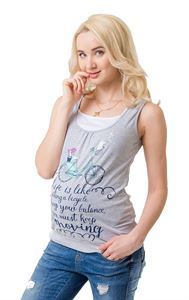 Picture of Greta Maternity And Nursing Tank Top; color: gray melange \ bike