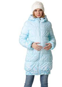 """Изображение Зимняя куртка 3в1 """"Гаага"""" для беременных и слингоношения; цвет: снежинки на голубом"""