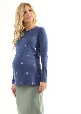 """Obrázek z Svetr """"Maile"""" pro těhotné ženy; barva: indigo / plameňák"""