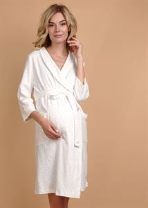 "Picture of ""Simon' Maternity dressing gown; color: coffee print"